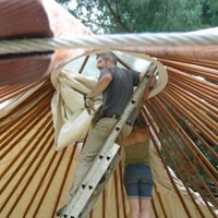 Michael and Simone set up the yurt.