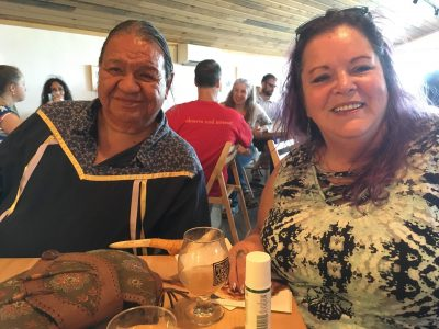 "Our honored guests Sachem Sam George and his wife Debbie George, from the Cayuga Nation, presented ""Words Before All Else"" at this year's reception at the Finger Lakes Cider House."