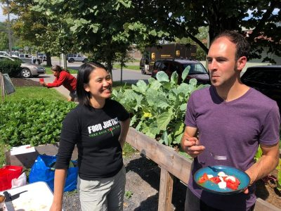 Youth Garden Coordinator, Lee Yoke Lee led tours of the Esty Street Community Garden. The garden is a collaboration with CFCU, GreenStar, Cornell Cooperative Extension, and Loaves and Fishes. It is open to its neighbors and offers hands-on learning to students from area schools.